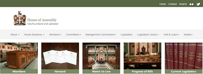 Le site Web. Newfoundland and Labrador House of Assembly.